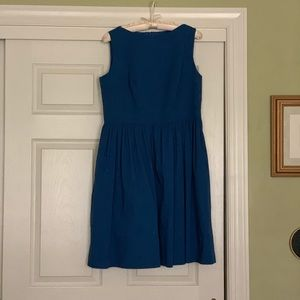Blue Knee Length Dress with Pockets